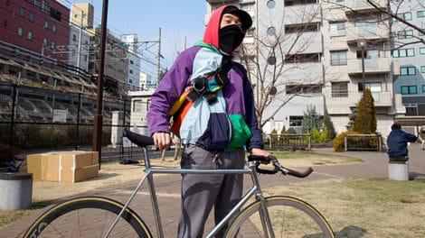 Biker japonais made in Tokyo avec son fixie