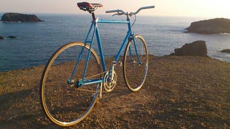 Singlespeed bleu Jacques Anquetil des années 80