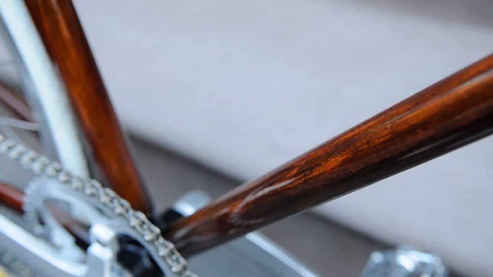 Rob's Woodgrain bike frames, vélo en simili-bois