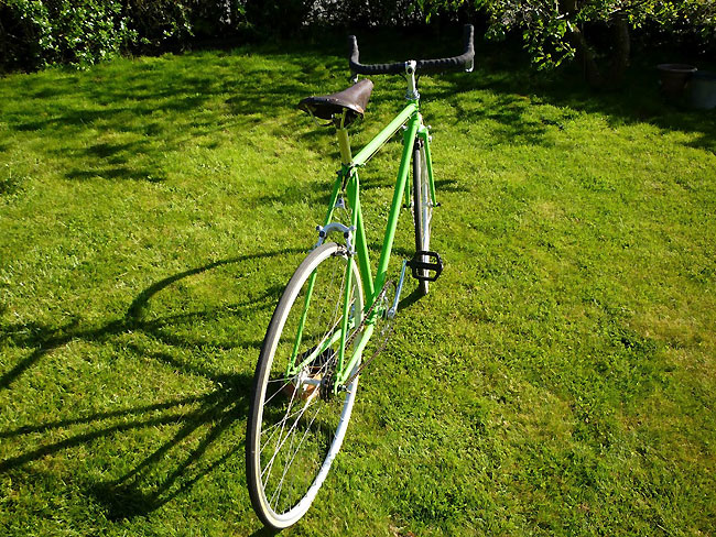 Vélo singlespeed vert sauterelle de Christophe