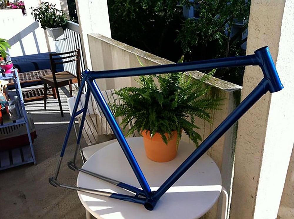 """Vélo fixie pignon fixe aux couleurs de """"Sonic"""" par Basile !"""