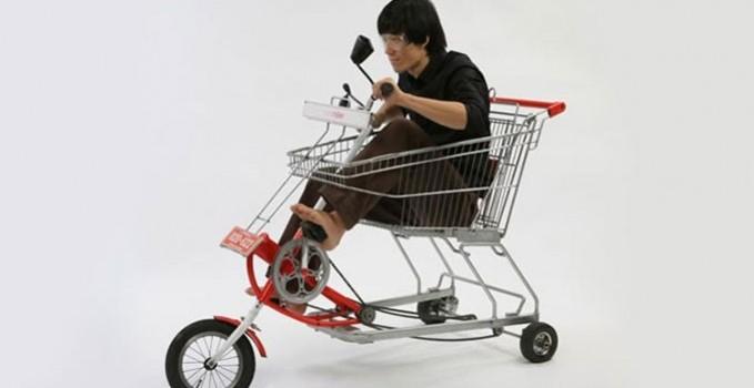 un caddie transform en tricycle v lo ville v lo. Black Bedroom Furniture Sets. Home Design Ideas