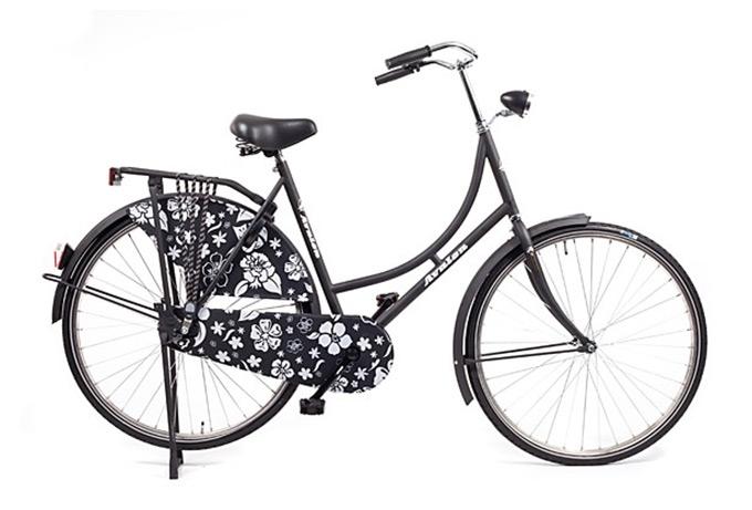 Vélo hollandais Oma Avalon luxe noir fleurs