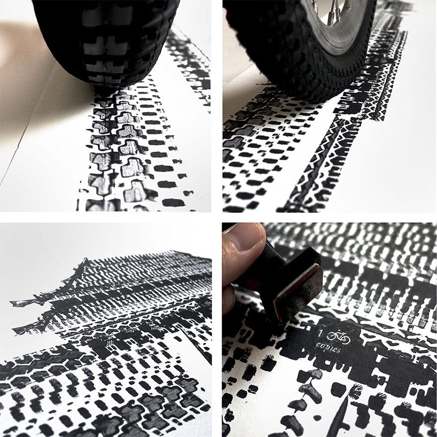 100copies série pneu d'impression The Unforbidden Cyclist