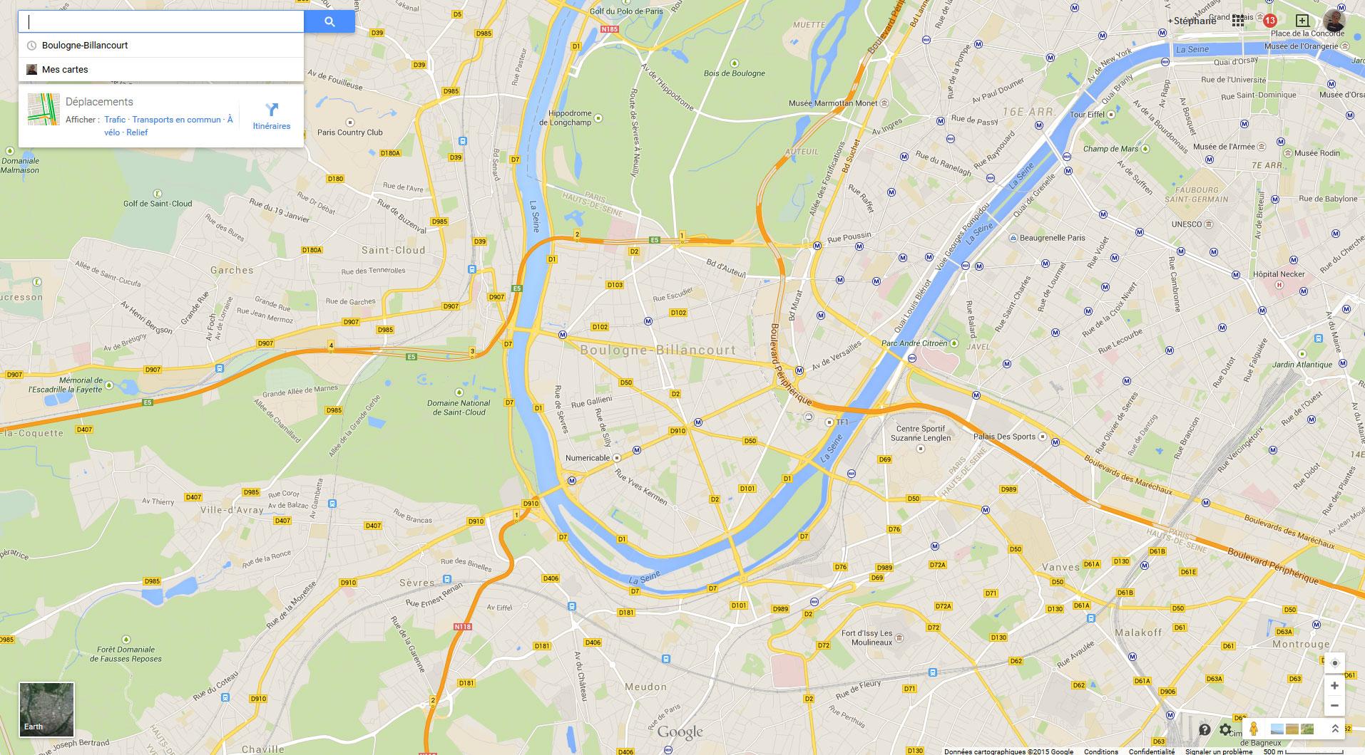 Google Map frappe fort et répertorie les pistes cyclables