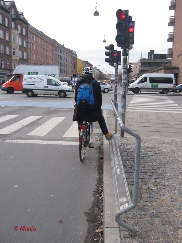 Un repose pied pour cyclistes urbains à Copenhague