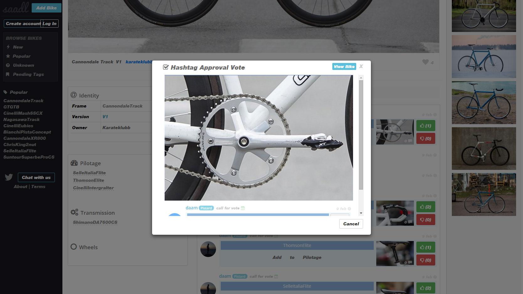 Saadl, partagez les photos de vélos et de ses composants
