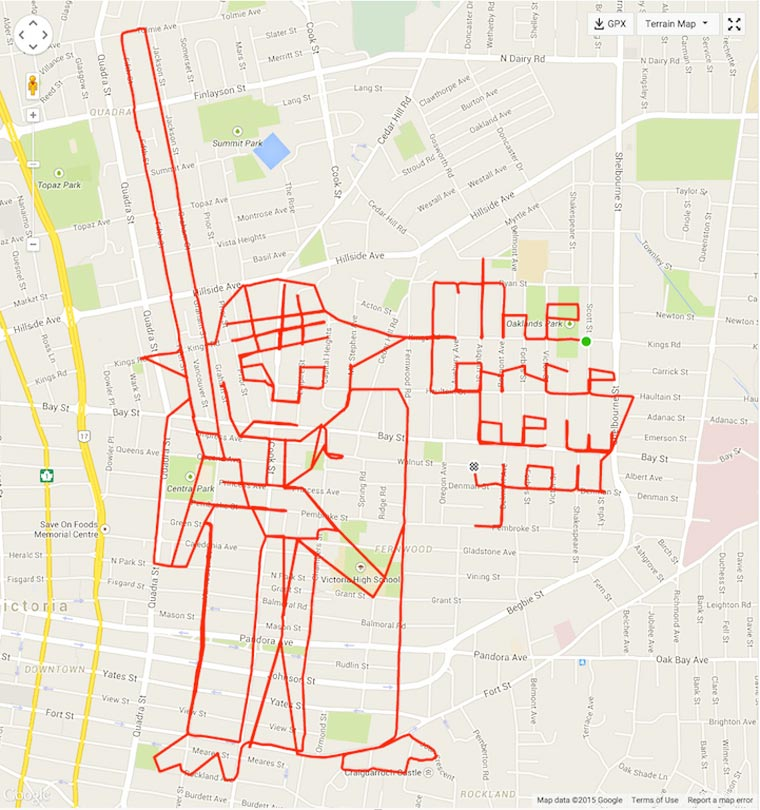 Il dessine sur les cartes avec son GPS et son vélo !