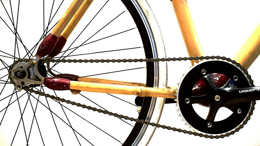 Bamboocyclette un vélo fixie avec un cadre en bambou