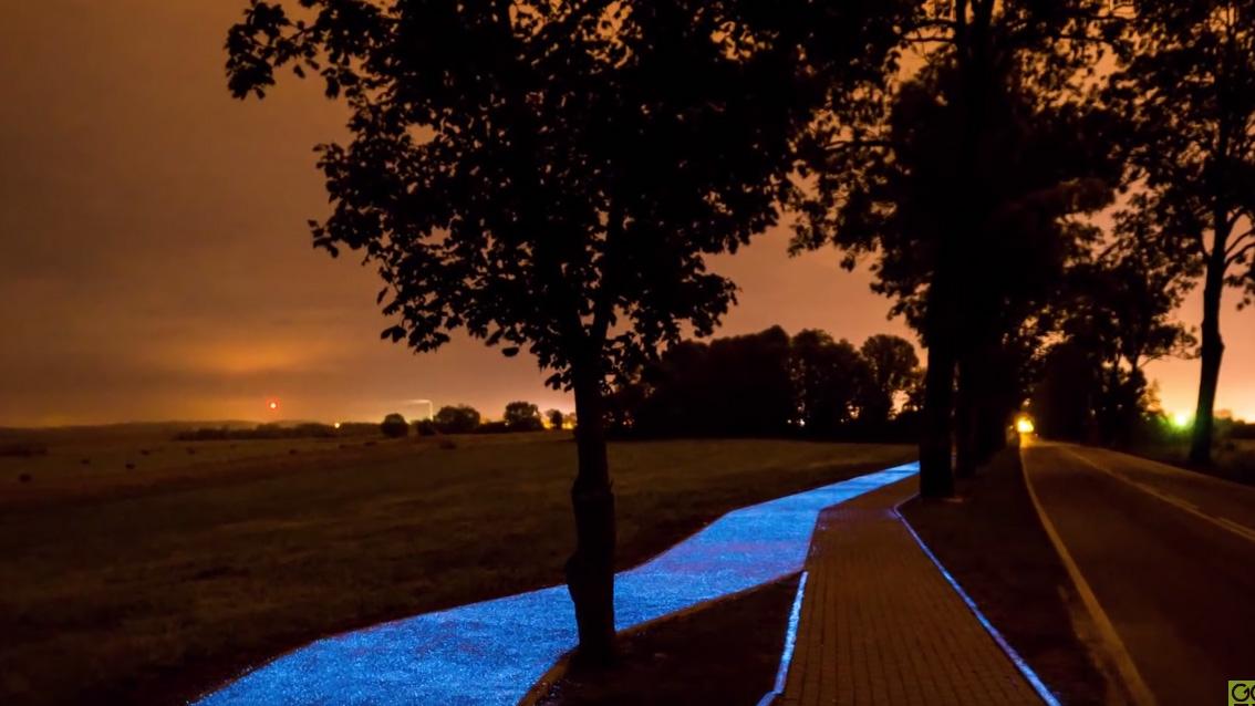 Inauguration d'une piste cyclable phosphorescente en Pologne