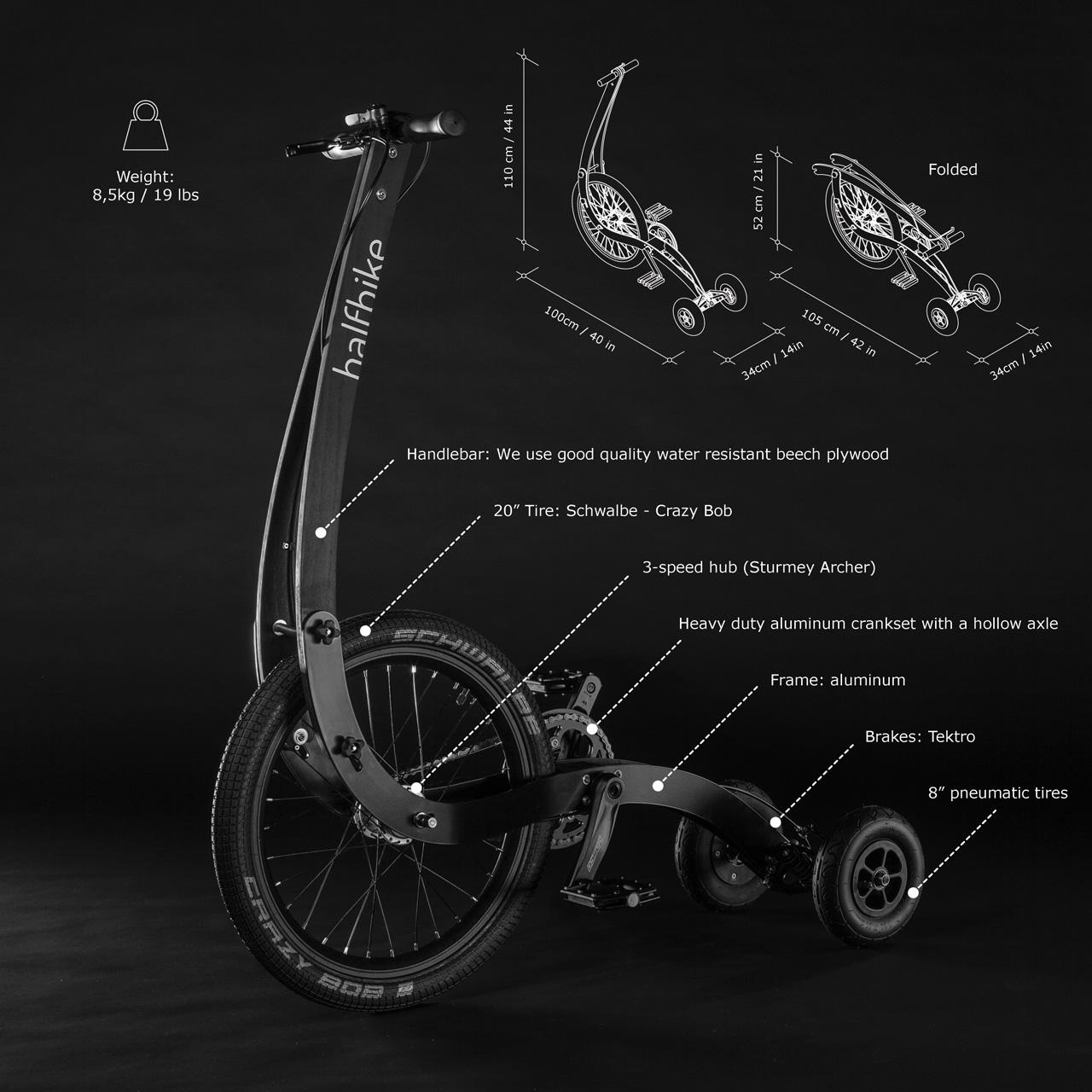 Le Halfbike, un vélo urbain à trois roues qui se pilote debout