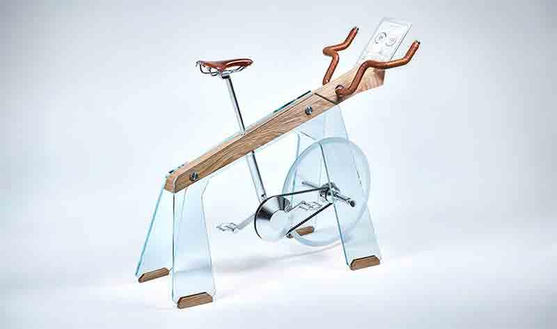 Un vélo d'appartement réalisé avec du bois et du verre !