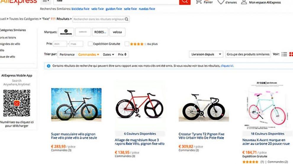 Le site Aliexpress propose des fixie et singlesspeed à petits prix
