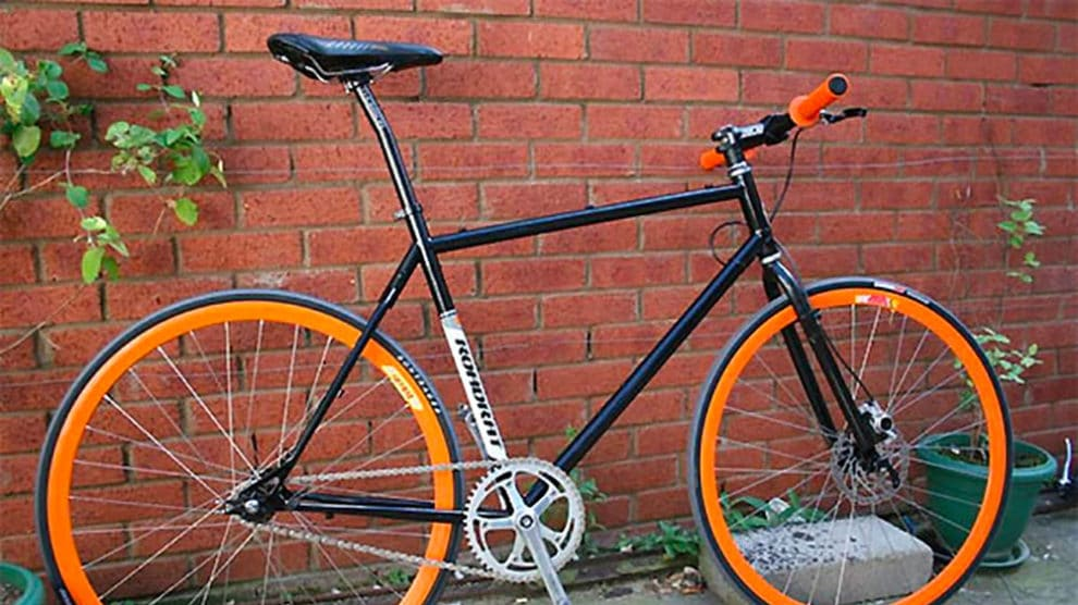 Fixie noir et orange made in England